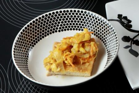 Tofu déshydraté grillé avec un œuf battu