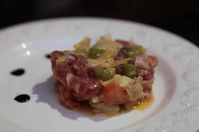Meli-melo de tartare de thon & saumon