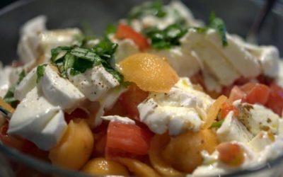 Salade de tomates, mozzarella & melon