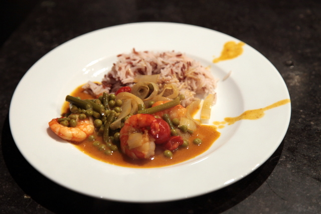 Curry doux aux crevettes et légumes